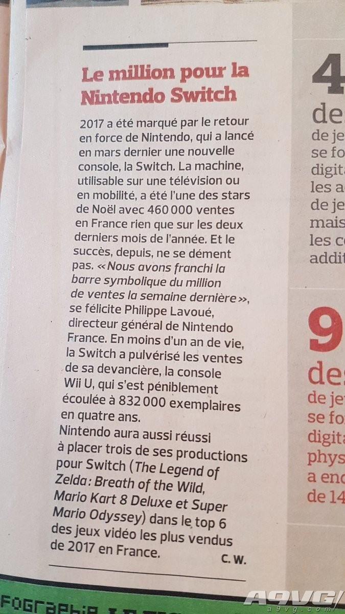 任天堂Switch法国销量突破100万 成为本地销量最快的主机