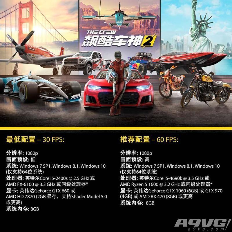 《飙酷车神2》公布PC版硬件配置要求及详细系统配置说明