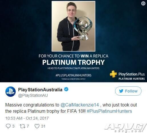 PlayStation澳洲发出首个真实白金奖杯 未来还将派发3个奖杯