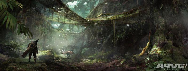 《怪物猎人世界》公开一组古代树之森场景的原画设定图