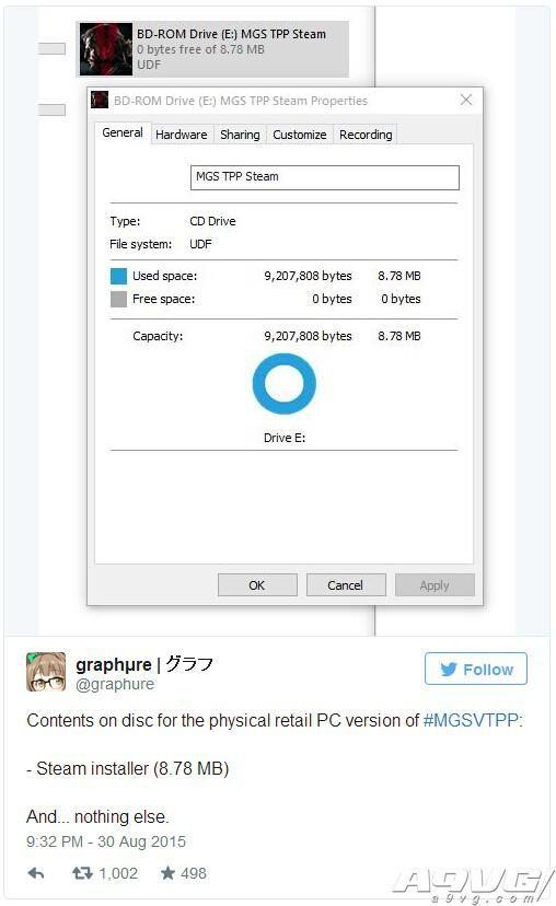 《潜龙谍影V:幻痛》PC光盘版坑爹 仅含Steam客户端