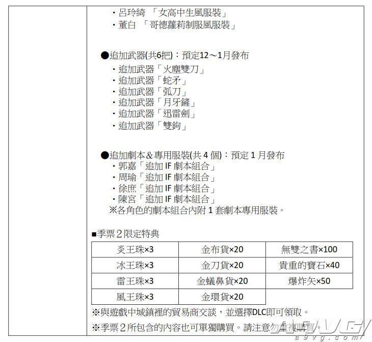 《真三国无双8》关银屏等4人服装DLC公开 11月22日上架