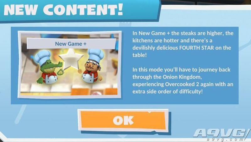 《胡闹厨房2》新游戏+ 将于10月初更新 追加四星挑战